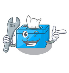 Mechanic tissue box isolated on the mascot vector
