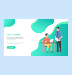 men employee character checking document vector image