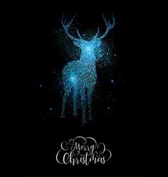 Merry christmas blue glitter reindeer shape card vector