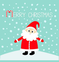 Merry christmas candy cane santa claus in red hat vector