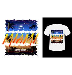 Miami surf print t-shirt vector