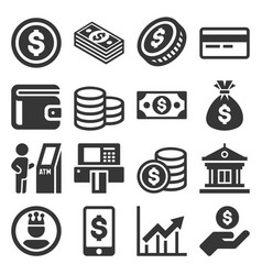 Money icons set on white background vector