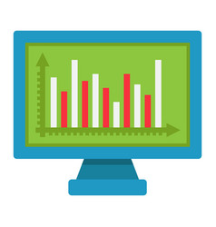 monitor chart flat icon business and graph vector image