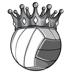 monochromatic volleyball ball with royal crown vector image