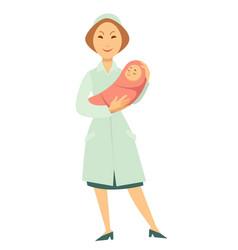 nurse with newborn bain swaddle cartoon vector image
