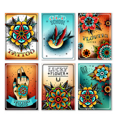 Old school tattoo cards vector
