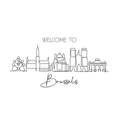 one single line drawing brussels city skyline vector image