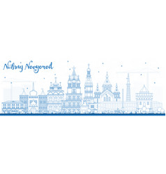 outline nizhny novgorod russia city skyline with vector image