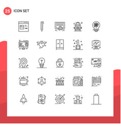 pack 25 modern lines signs and symbols for web vector image