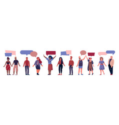 people with speech bubbles cartoon men and women vector image