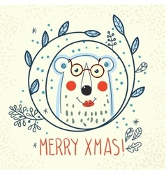 Polar Bear hipster inside a wreath of hand drawn vector image