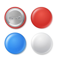realistic blank circle badges set with mockup vector image