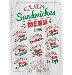 Sandwiches menu wood vector