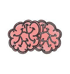 Scribble brain cartoon vector