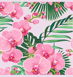 seamless floral pattern pink purple orchid vector image