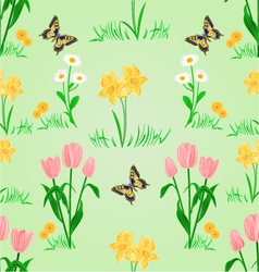 Seamless texture spring flowers narcissus tulips vector