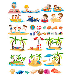 Set of beach theme vector