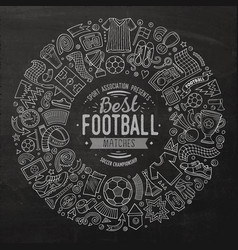 set of cartoon doodle football objects vector image