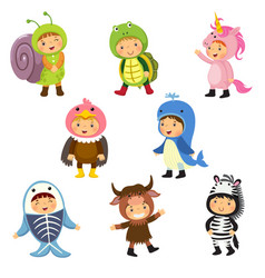 Set of cute kids wearing animal costumes vector