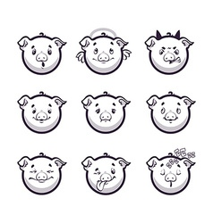 Set smiles pig Monochrome emotions icons vector image