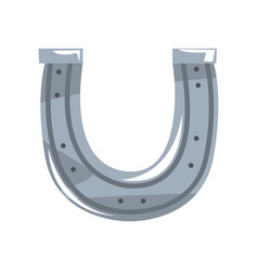 silver horseshoe on a white vector image