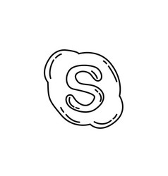 Skype icon doodle hand drawn or black outline vector