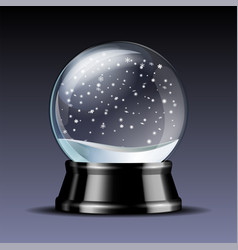 snow globe with falling snowflakes vector image