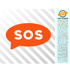 sos message balloon flat icon with bonus vector image