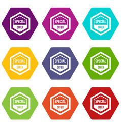 special offer pentagon icon set color hexahedron vector image