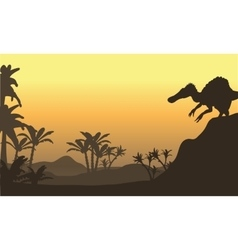 spinosaurus in hills scenery vector image