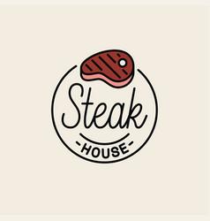 steak house logo round linear steak grill vector image