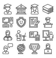 students college education icons set on white vector image