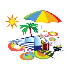 Stuff with palm and umbrella vector