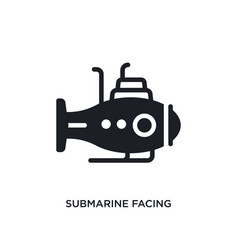 Submarine facing right isolated icon simple vector