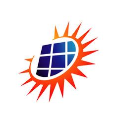 sun energy solar panels logo design for green vector image