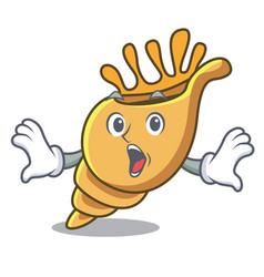 Surprised exotic shell mascot cartoon vector