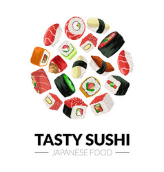 Tasty sushi banner template japanese food vector