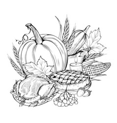 thanksgiving food coloring book vector image
