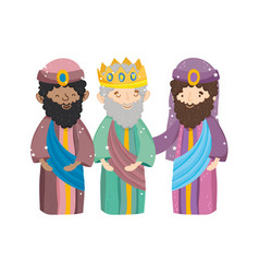 Three wise characters manger nativity merry vector