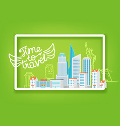time to travel travel concept with white frame vector image