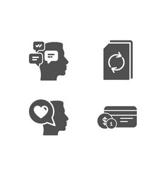 Update document romantic talk and messages icons vector