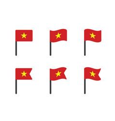 vietnam flag icon set flag socialist vector image