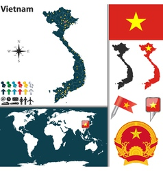 Vietnam map world vector