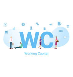 Wc working capital concept with big word or text vector