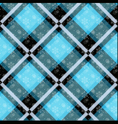 white snowflakes seamless with blue tartan pattern vector image