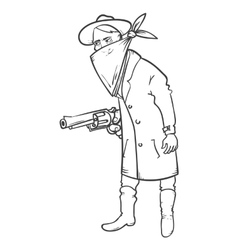 Wild west robber with gun hand drawn vector image