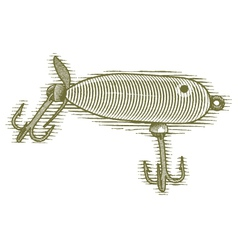 Woodcut Fishing Lure vector