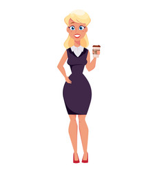 Young cartoon businesswoman standing with coffee vector