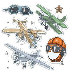 colorful sticker set retro old aircraft pilot vector image
