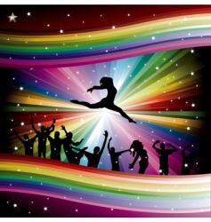 dancers on rainbow vector image